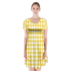 Deep Yellow Gingham Classic Traditional Pattern Short Sleeve V-neck Flare Dress