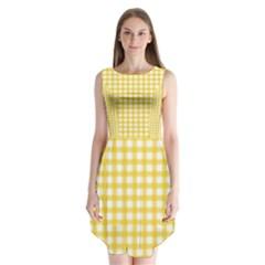 Deep Yellow Gingham Classic Traditional Pattern Sleeveless Chiffon Dress