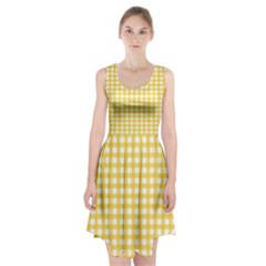 Deep Yellow Gingham Classic Traditional Pattern Racerback Midi Dress