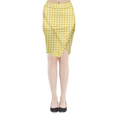 Deep Yellow Gingham Classic Traditional Pattern Midi Wrap Pencil Skirt