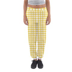Deep Yellow Gingham Classic Traditional Pattern Women s Jogger Sweatpants