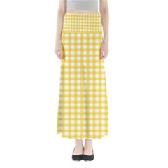 Deep Yellow Gingham Classic Traditional Pattern Maxi Skirts