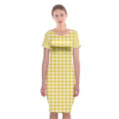 Deep Yellow Gingham Classic Traditional Pattern Classic Short Sleeve Midi Dress