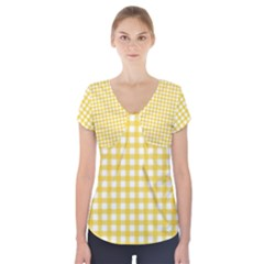 Deep Yellow Gingham Classic Traditional Pattern Short Sleeve Front Detail Top