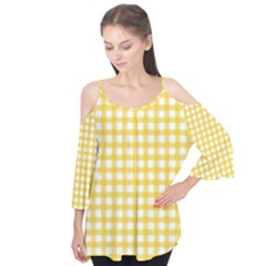 Deep Yellow Gingham Classic Traditional Pattern Flutter Tees