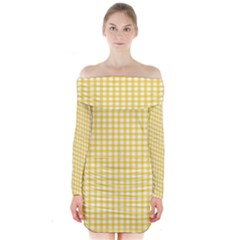 Deep Yellow Gingham Classic Traditional Pattern Long Sleeve Off Shoulder Dress