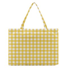 Deep Yellow Gingham Classic Traditional Pattern Medium Zipper Tote Bag