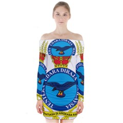 Crest of Royal Malaysian Air Force Long Sleeve Off Shoulder Dress