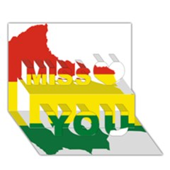 Flag Map Of Bolivia Miss You 3d Greeting Card (7x5)
