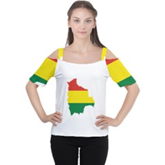 Flag Map of Bolivia Women s Cutout Shoulder Tee