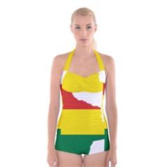 Flag Map of Bolivia Boyleg Halter Swimsuit