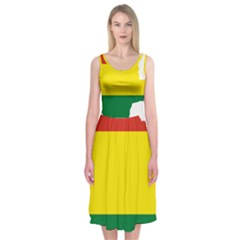 Flag Map Of Bolivia Midi Sleeveless Dress