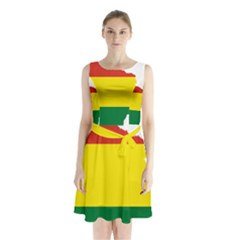 Flag Map Of Bolivia Sleeveless Chiffon Waist Tie Dress