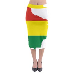 Flag Map Of Bolivia Midi Pencil Skirt