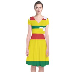 Flag Map Of Bolivia Short Sleeve Front Wrap Dress