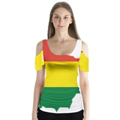 Flag Map Of Bolivia Butterfly Sleeve Cutout Tee