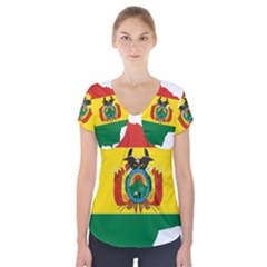 Flag Map of Bolivia  Short Sleeve Front Detail Top
