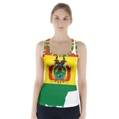 Flag Map of Bolivia  Racer Back Sports Top