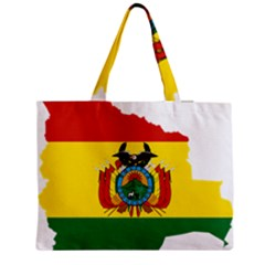 Flag Map Of Bolivia  Medium Zipper Tote Bag