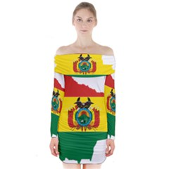 Flag Map Of Bolivia  Long Sleeve Off Shoulder Dress