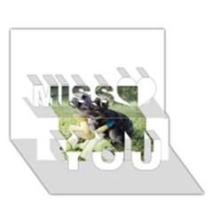 Puppy 2 Mini Schnauzer Miss You 3D Greeting Card (7x5)