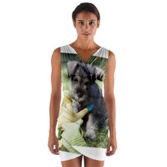 Puppy 2 Mini Schnauzer Wrap Front Bodycon Dress