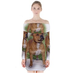 Staffordshire Bull Terrier Full Long Sleeve Off Shoulder Dress
