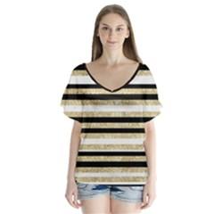 Gold Glitter, Black And White Stripes V Neck Flutter Sleeve Top