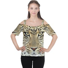 Leopard Face Women s Cutout Shoulder Tee