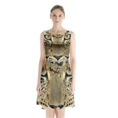 Leopard Face Sleeveless Chiffon Waist Tie Dress