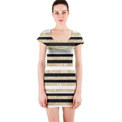 Gold Glitter, Black And White Stripes Short Sleeve Bodycon Dress