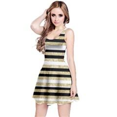 Gold Glitter, Black And White Stripes Reversible Sleeveless Dress