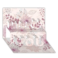 Leaves Pattern Miss You 3D Greeting Card (7x5)