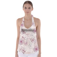 Leaves Pattern Babydoll Tankini Top