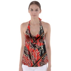 Leaf Pattern Babydoll Tankini Top