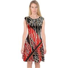 Leaf Pattern Capsleeve Midi Dress