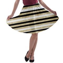Gold Glitter, Black And White Stripes A Line Skater Skirt