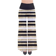 Gold Glitter, Black and White Stripes Women s Chic Palazzo Pants