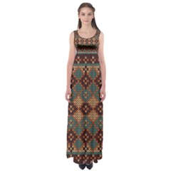 Knitted Pattern Empire Waist Maxi Dress