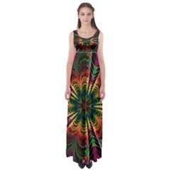 Kaleidoscope Patterns Colors Empire Waist Maxi Dress