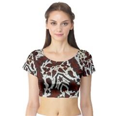 Javanese Batik Short Sleeve Crop Top (Tight Fit)