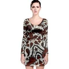Javanese Batik Long Sleeve Bodycon Dress