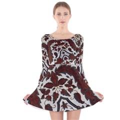 Javanese Batik Long Sleeve Velvet Skater Dress