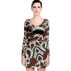 Javanese Batik Long Sleeve Velvet Bodycon Dress