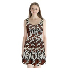 Javanese Batik Split Back Mini Dress