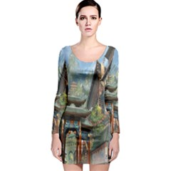 Japanese Art Painting Fantasy Long Sleeve Bodycon Dress