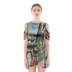 Japanese Art Painting Fantasy Cutout Shoulder Dress