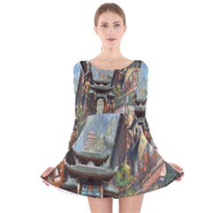 Japanese Art Painting Fantasy Long Sleeve Velvet Skater Dress
