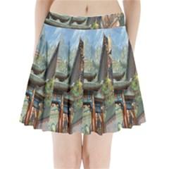 Japanese Art Painting Fantasy Pleated Mini Skirt