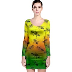 Insect Pattern Long Sleeve Bodycon Dress